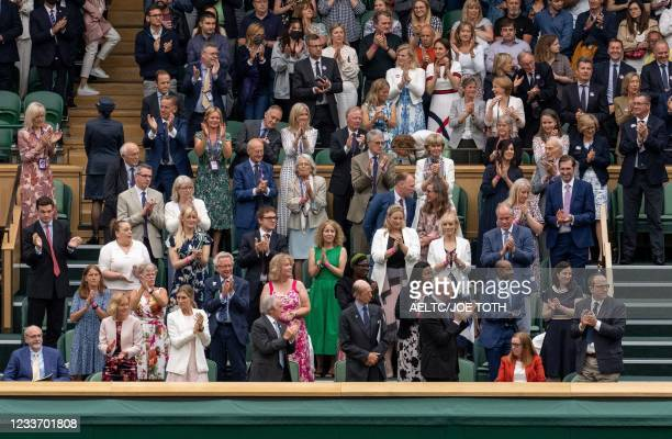 The Royal Box stands and applauds Oxford University and AstraZeneca scientist, one of the people behind the successful COVID-19 vaccine, Professor...