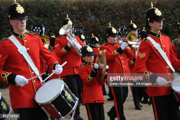 The Royal British Legion Youth Band march through Horse guards Parade in London today to mark the launch of Baroness Helen Newlove's Building Safe...