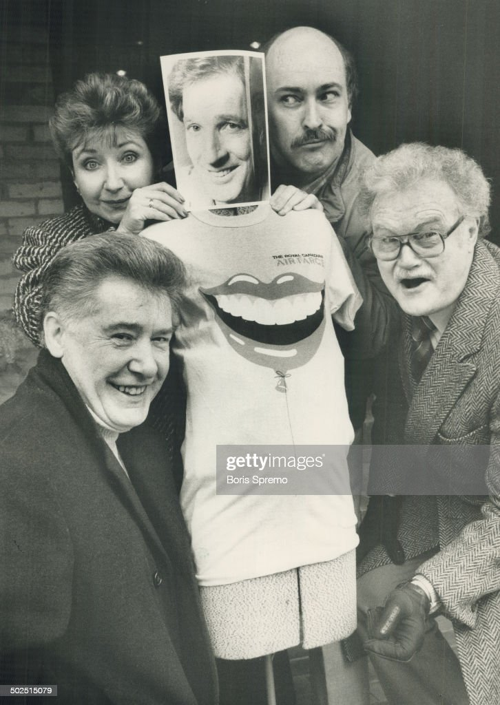 The Royal Canadian Air Farce; clockwise from bottom left; John Morgan; Luba Goy; Don Ferfuson in photo form; Roger Abbott and Dave Broadfoot. The troupe performs here Friday as part of their year-long tour.
