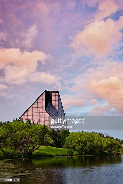 the royal canadian mint at sunrise - winnipeg stock pictures, royalty-free photos & images