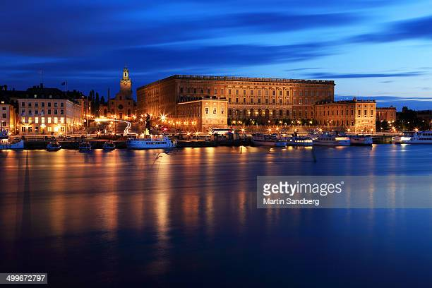 CONTENT] The Royal Castle in Stockholm and the church Storkyrkan seen in the blue hour from across the water