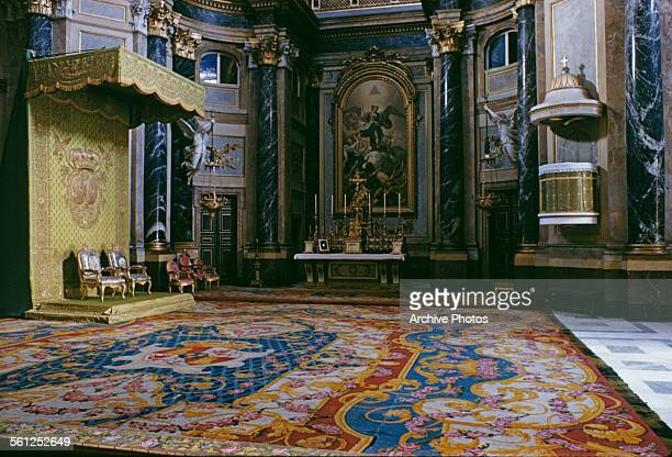 The Royal Chapel in the Royal Palace of Madrid Spain 1958 Above the High Altar is a painting of the Archangel Michael by Ramon Bayeu