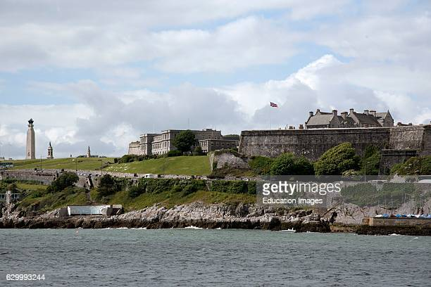 The Royal Citadel On Plymouth Hoe Devon Uk The Royal Citadel On Plymouth Hoe In Devon England Seen Across Plymouth Sound Is Home To The Commando...