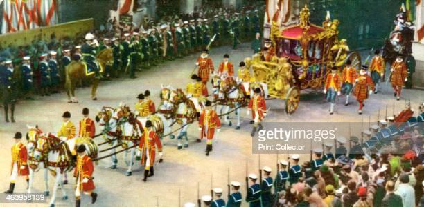 The royal coach, 20th century. Royal Britain, coronation souvenir card.