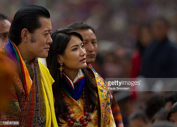 The Royal couple King Jigme Khesar Namgyel Wangchuck Queen of Bhutan Ashi Jetsun Pema Wangchuck greet thousands of Bhutanese citizens at the...
