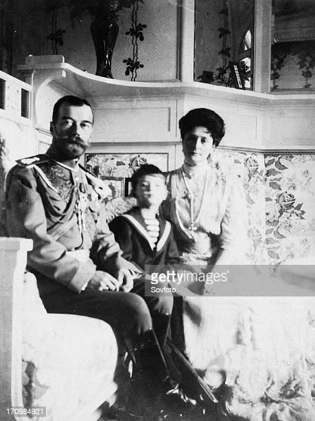The royal couple of russia tsar nicholas ll and tsarina alexandra fyodorovna with their son