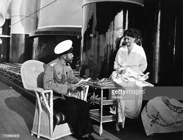 The royal couple of russia tsar nicholas ll and tsarina alexandra fyodorovna aboard the royal yacht
