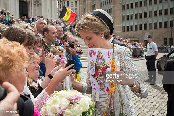 The Royal couple, Queen Mathilde and King Philippe arrives for a mass on the occasion of the 20th anniversary of King Boudewijn / Baudouin's death,...
