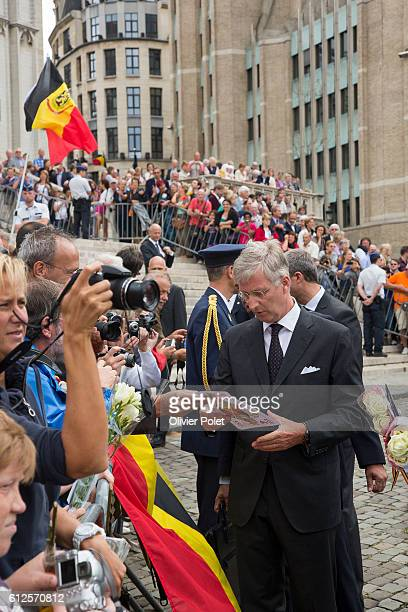 The Royal couple Queen Mathilde and King Philippe arrives for a mass on the occasion of the 20th anniversary of King Boudewijn / Baudouin's death at...