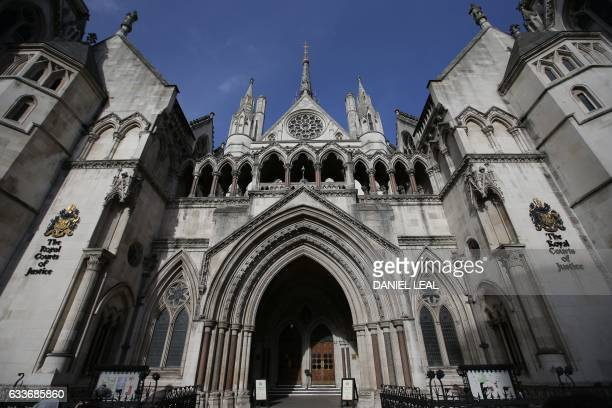 The Royal Courts of Justice building which houses the High Court of England and Wales is pictured in London on February 3 2017 / AFP / Daniel...