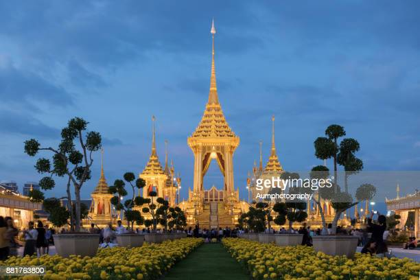 the royal cremation ceremony for the late king bhumibol adulyadej, bangkok, thailand. - sanam luang park stock pictures, royalty-free photos & images