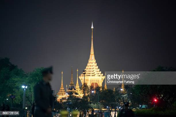 The Royal Crematorium is illuminated as the overnight cremation ceremony of the late Thai King Bhumibol Adulyadej begins on October 26 2017 in...