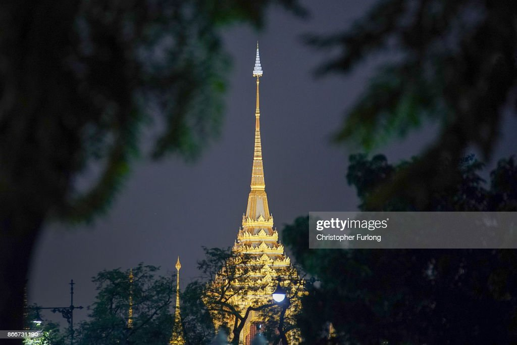 The Royal Crematorium is illuminated as the overnight cremation ceremony of the late Thai King Bhumibol Adulyadej begins on October 26, 2017 in Bangkok, Thailand. Tens of thousands of people, dressed in black , have gathered in Bangkok over a year after the death of Thailand's popular King Bhumibol Adulyadej. The five-day royal cremation ceremony is taking place between October 25-29 in Bangkok's historic Grand Palace and the Sanam Luang area.