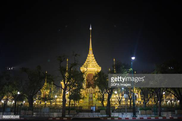 The Royal Crematorium is seen at the early morning after the cremation of the late King Rama 9. Thailand's Late King Bhumibol Adulyadej was the...
