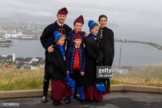 The Royal Danish Crown Prince couple and their four children are posing during the first day of their visit to the Faroe Islands on August 23 2018 in...