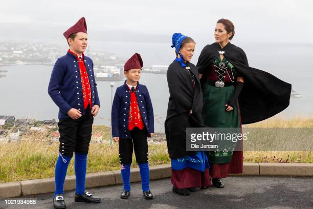 The Royal Danish Crown Prince couple during the first day of their visit to the Faroe Islands on August 23, 2018 in Torshavn, Denmark. All are...