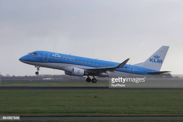 KLM the Royal Dutch Airlines as seen in Amsterdam Schiphol Airport in November 2017 while landing taking off and taxiing KLM uses Amsterdam airport...