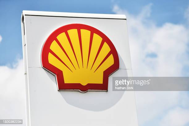The Royal Dutch Shell logo is displayed outside one of its petrol stations on May 27, 2021 in Leeds, England.