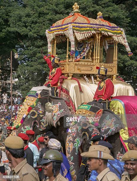 The royal elephant of the Mysore Palace carries the Golden Howdah containing Hindu Goddess Chamundeshwari during Vijayadashami celebrations in Mysore...