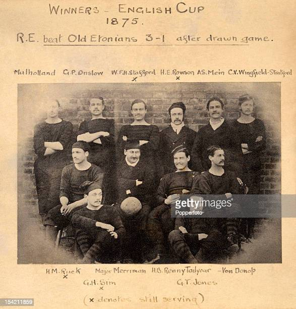 The Royal Engineers football team winners of the English FA Cup Final in 1875 defeating the Old Etonians 20 in a replay not 31 as stated on the mount...