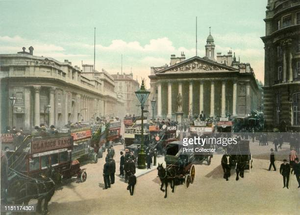The Royal Exchange and Bank of England', circa 1900s. View of the Royal Exchange, and the Bank of England on the left, with carts and open-topped...