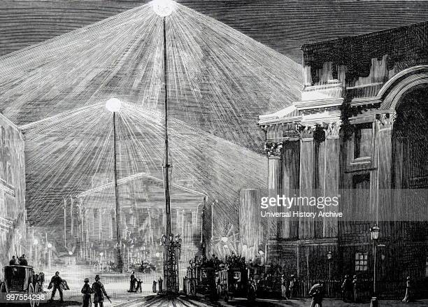 The Royal Exchange and Mansion House London lit by Siemens carbon arc lamps 1883