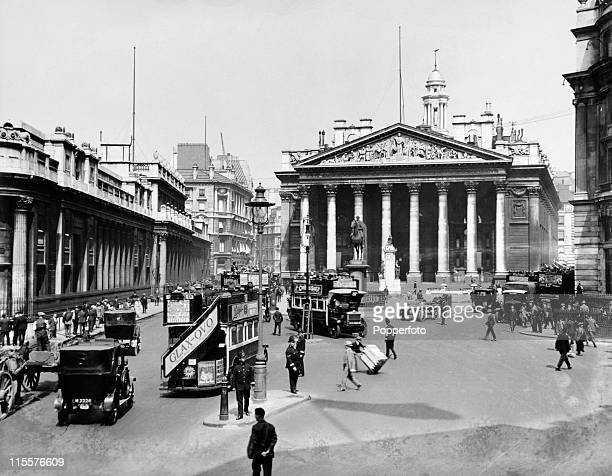 The Royal Exchange in the City of London then a centre of commerce and now a luxury shopping centre circa 1920