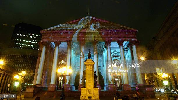 The Royal Exchange is lit up like a Christmas present as part of a number of switchon ceremonies leading up to Christmas December 24 2003 in London