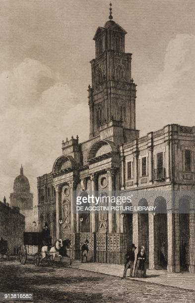 The Royal Exchange London England United Kingdom engraving by Lemaitre from Angleterre Ecosse et Irlande Volume IV by Leon Galibert and Clement Pelle...