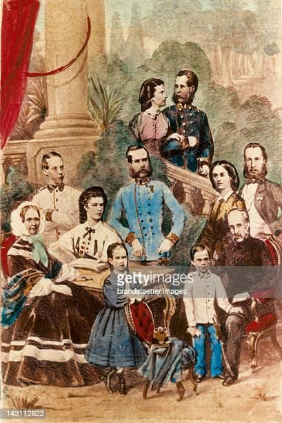 The royal Family. Archduchess Sophie with Gisela, Empress Elisabeth, archduke Franz Karl with crown prince Rudolf, behind Emperor Franz Joseph, on...