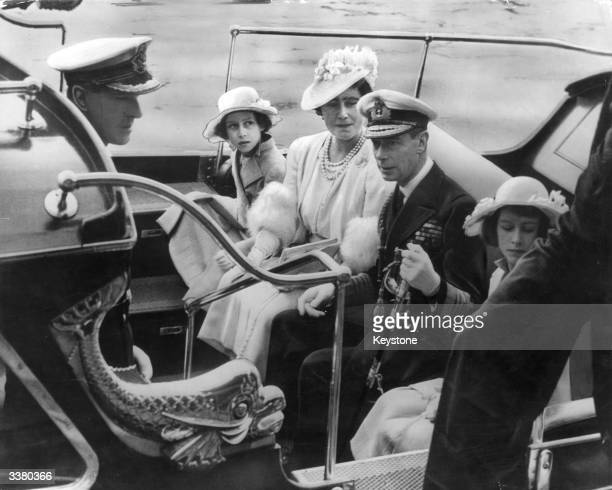 The royal family arriving at the Royal Naval College in Dartmouth, July 1939. From centre, left to right: Princess Margaret , Queen Elizabeth, King...