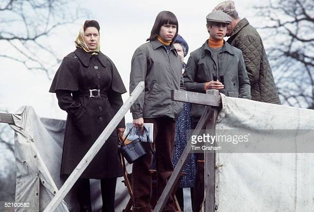 The Royal Family At Badminton Horse Trials Princess Margaret With Her Daughter Sarah Armstrongjones And Prince Edward