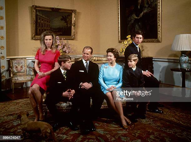 The royal family at Buckingham Palace, London, 1972. Left to right: Princess Anne, Prince Andrew, Prince Philip, Queen Elizabeth, Prince Edward and...