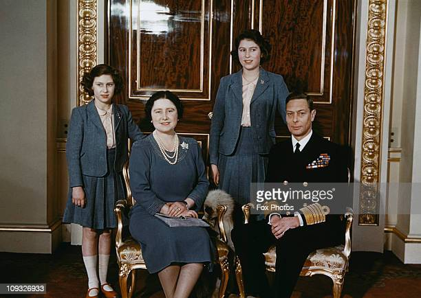 The royal family at Buckingham Palace, May 1942. From left to right, Princess Elizabeth, Queen Elizabeth (later the Queen Mother, Princess Margaret...