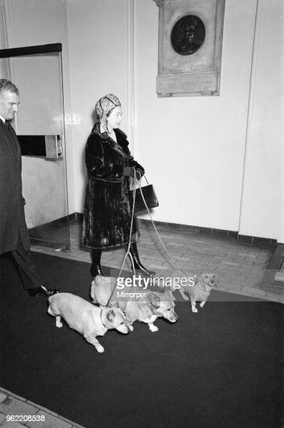 The Royal Family at Christmas and New Year Picture shows Queen Elizabeth II arriving with her Corgi dogs at Liverpool Street Station She and other...