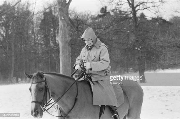 The Royal Family at Christmas and New Year Queen Elizabeth II out riding her horse in the snow during their New Year holiday at Sandringham Norfolk...