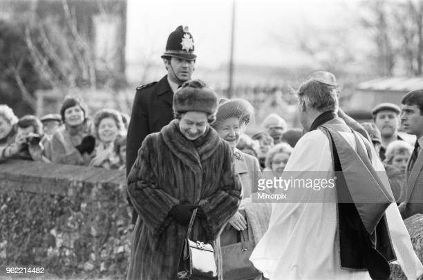 The Royal Family at Christmas and New Year The Queen Mother and Queen Elizabeth II arriving at church in Sandringham Norfolk Picture taken 30th...