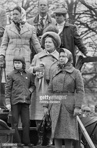 The royal family at the Badminton Horse Trials, UK, 14th April 1973. Pictured are Princess Margaret, Lady Sarah Armstrong-Jones, Queen Elizabeth II,...