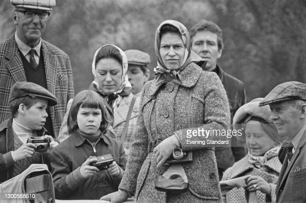 The royal family at the Badminton Horse Trials, UK, 14th April 1973. Pictured are Princess Margaret with Viscount Linley and Lady Sarah...