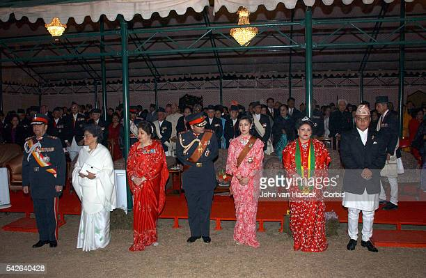 The royal family at the ceremony the day after the wedding of Her Royal Highness, : King Gyanendra, Queen mother, Queen Komal, Crown Prince Paras Bir...