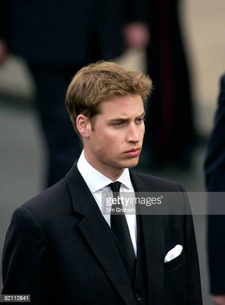 The Royal Family At Westminster Abbey For The Funeral Of The Queen Mother Prince William