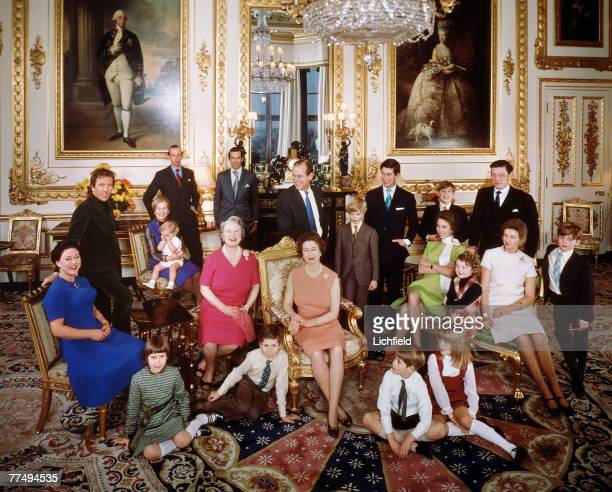 The Royal Family at Windsor Castle on 26th December 1971. Back row The Earl of Snowdon, HRH The Duchess of Kent with Lord Nicholas Windsor, HRH The...