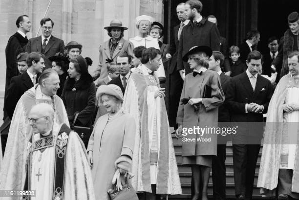 The Royal Family attend the Royal Christmas Service at St George's Chapel in Windsor, UK, 25th December 1984; in the group Princess Diana , Prince...