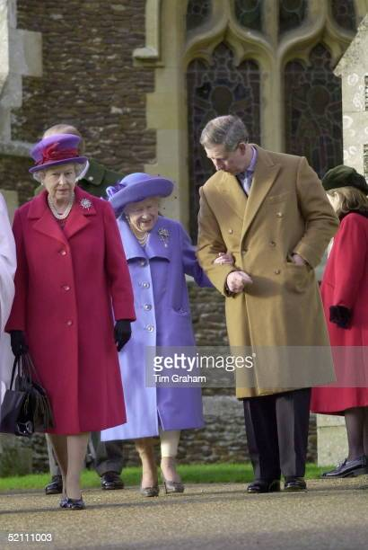 The Royal Family Attending Church On Christmas Day At Sandringham In Norfolk The Queen With The Queen Mother Helped By Prince Charles