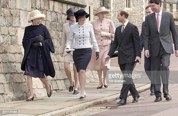 The Royal Family Attending Easter Day Service At Windsor Castle Berkshire L To R Princess Anne Her Daughter Zara Phillips Sophie Countess Of Wessex...