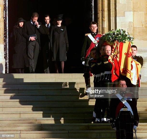 The Royal Family Attending The Funeral Of Princess Margaret At St George's Chapel In Windsor Castle Lady Sarah Chatto With Her Husband Daniel Chatto...