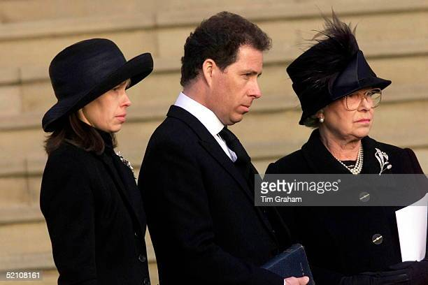 The Royal Family Attending The Funeral Of Princess Margaret At St George's Chapel In Windsor Castle Lady Sarah Chatto With Her Brother Lord Linley...