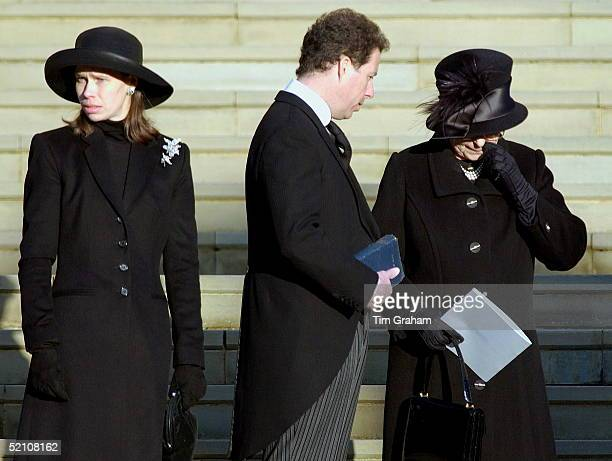 The Royal Family Attending The Funeral Of Princess Margaret At St George's Chapel In Windsor Castle Queen Elizabeth II Shows Her Grief At The Loss Of...