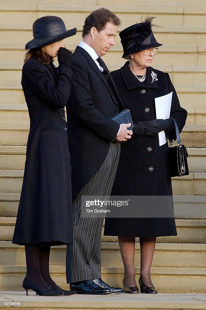 The Royal Family Attending The Funeral Of Princess Margaret At St. George's Chapel In Windsor Castle. Their Grief Showing In Their Sad Expressions Queen Elizabeth II Watches With Princess Margaret's Children Lord Linley And Lady Sarah Chatto Who Sheds A Tear For Her Mother.