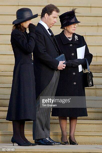 The Royal Family Attending The Funeral Of Princess Margaret At St George's Chapel In Windsor Castle Their Grief Showing In Their Sad Expressions...